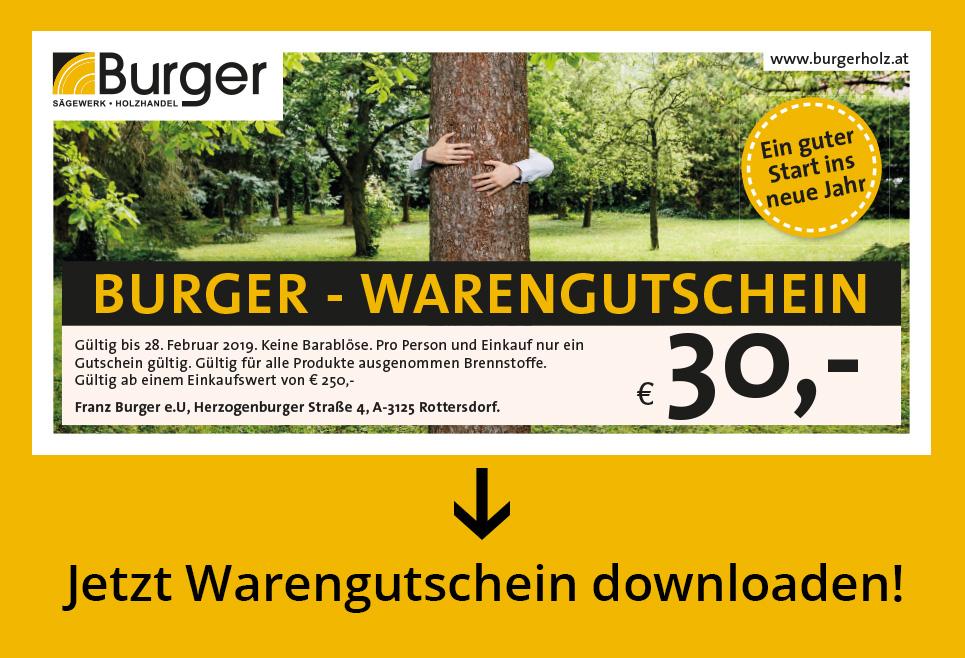 Burger - Warengutschein - € 30,- ab einem Einkaufswert von € 250,-