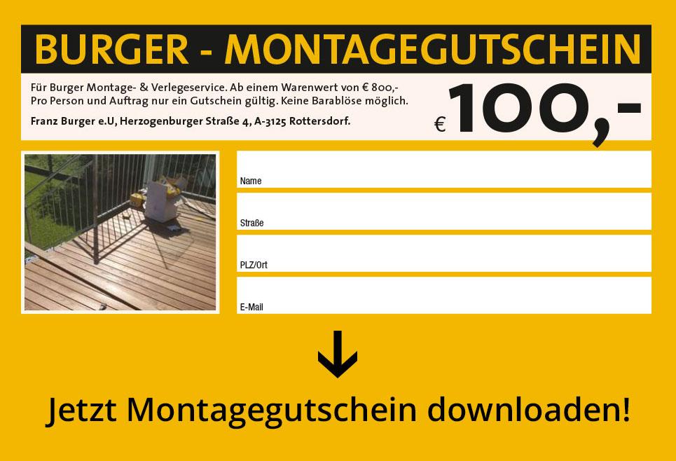 Burger - Montagegutschein - € 100,-
